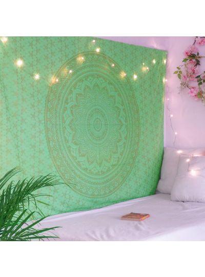 Green Mandala Tapestry Wall Hanging Boho Hippie Bedspread Twin Tapestry Online
