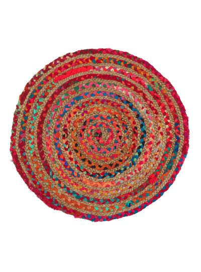 Hand Woven Chindi Round Multicolor Cotton & Jute Reversible Floor Rugs For Home Decor