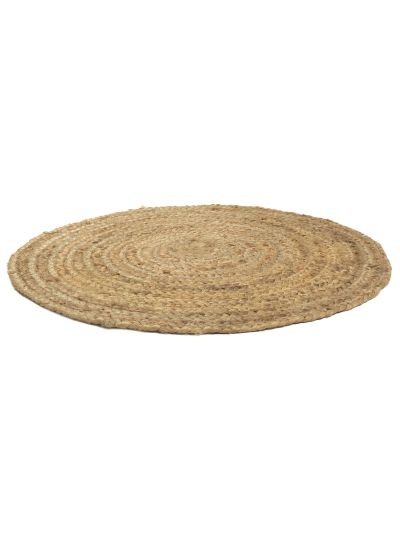 Hand Woven Chindi Round Brown Cotton & Jute Bedroom Reversible Floor Rugs For Home Decor-2 Feet