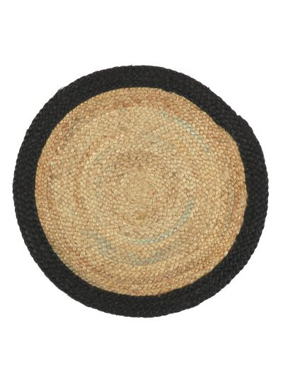 Hand Woven Chindi Round Brown & Black  Jute Bedroom Reversible Floor Rugs For Home Decor-2 Feet