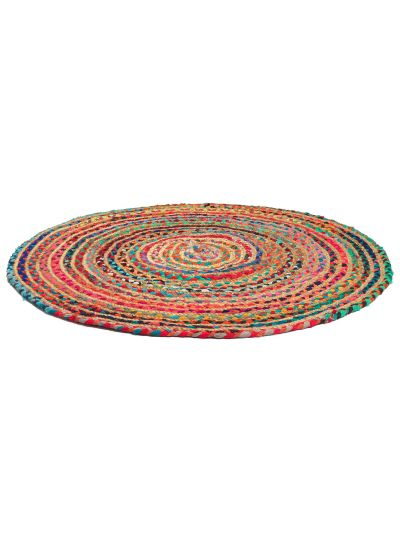 Hand Woven Chindi Round Multicolor Cotton & Jute Bedroom Reversible Floor Rugs For Home Decor-3 Feet