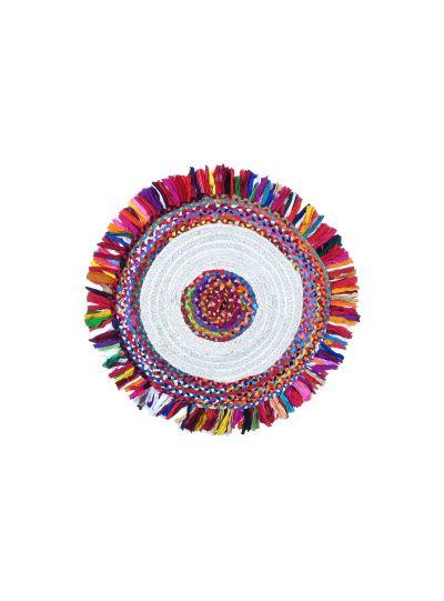 Oussum Hand Woven Chindi Braided Round Jute Floor Rugs