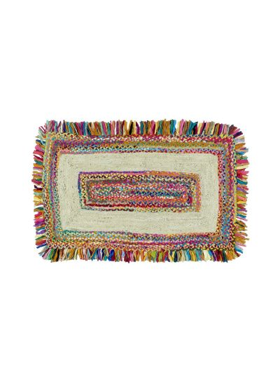 Oussum Multicolor Hand Woven Jute Chindi Rectangle Cotton Floor Rugs