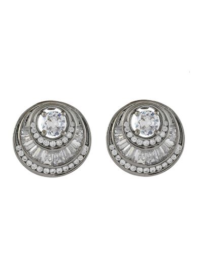 Round Buguette Cubic Zirconiac Handmade Fashion Stud Earring For Women