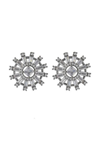 Women Fashion Round Buguette Princes Cut Cubic Zirconiac Stud Earring For Gift