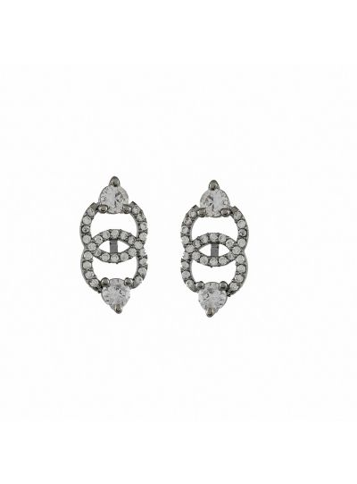 Women Fashion round Stone Cubic Zirconia Stud Earring