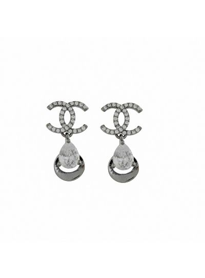 Fashion Handmade White Cubic Zirconia Pear Stud Earring for Wedding Gift