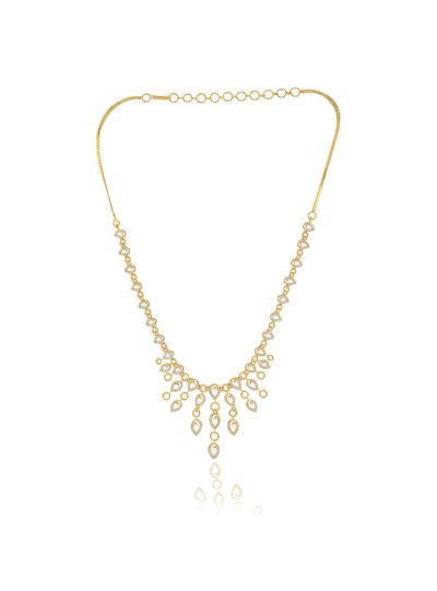 Women's CZ White Stone Gold Plated Necklace with Earring