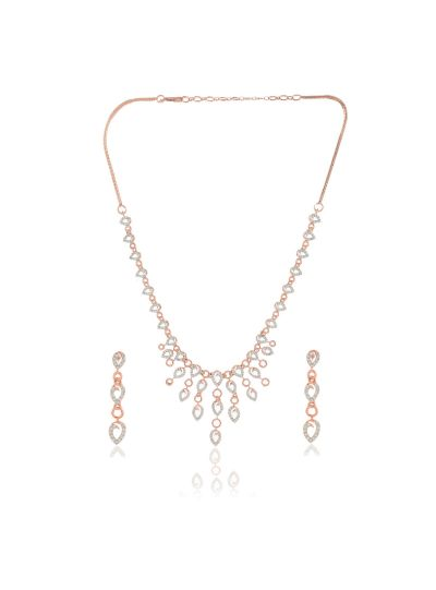 Women CZ Diamond Rose Gold Plated Necklace Set for Christmas