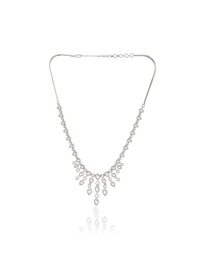 Ladies Cubic Zirconia Silver Plated Necklace with Earrings for All Occasion