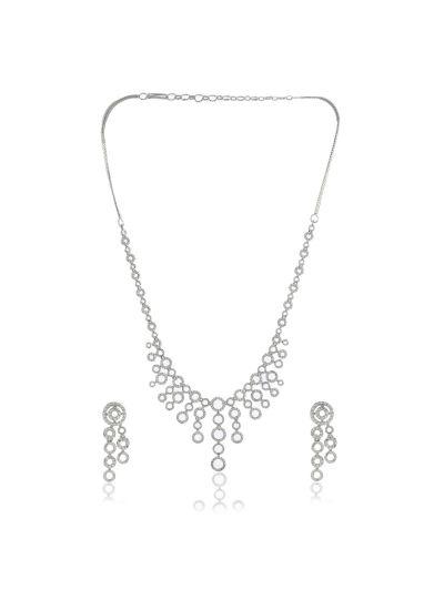 Women's CZ Diamond Black Plated Necklace Set for Christmas
