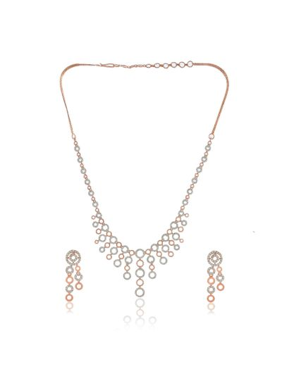 Women Cubic Zirconia Rose Gold Plated Necklace with Earrings
