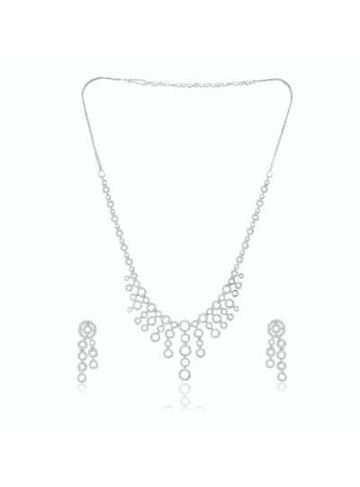 Ladies Cubic Zirconia Brass Alloy Metal Silver Plated Necklace with Earring