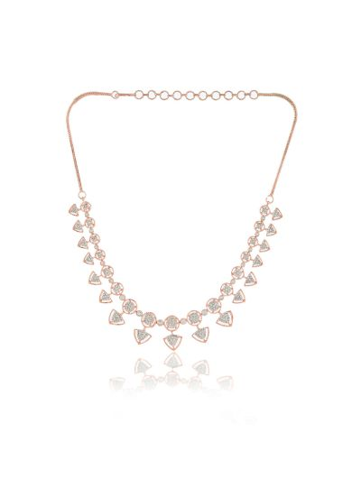 Ladies CZ White Diamond Rose Gold Plated Brass Necklace Set for All Occasion