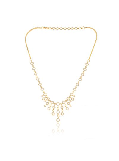 Women CZ Brass Alloy Gold Plated Cubic Zirconia Necklace Set