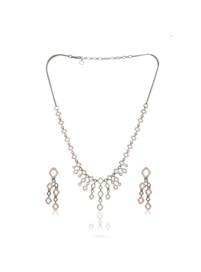 Women CZ Rose Gold Plated Round Shape Necklace with Earrings