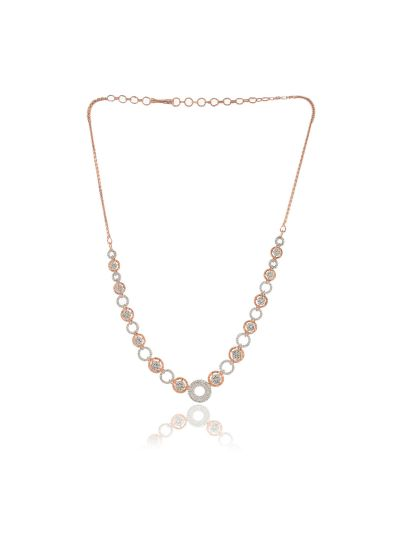 Women CZ Diamond Gold Plated Earrings Necklace Set for Christmas