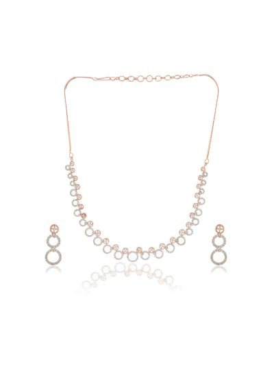 Women CZ Diamond Rose Gold Plated Earrings Necklace Set