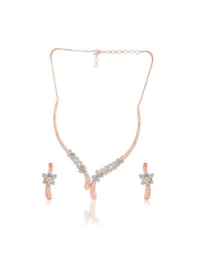 Women's Cubic Zirconia Rose Gold Plated Necklace Set for Christmas