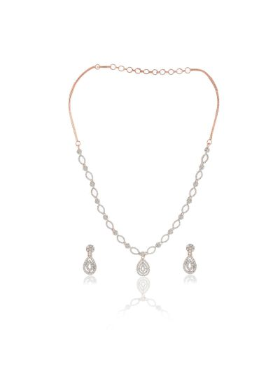 Ladies CZ Brass Alloy Rose Gold Plated Necklace with Earrings for All Occasion