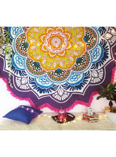 Multicolor Star Mandala Beach Towel Picnic Roundie Yoga Mat Throw Blanket