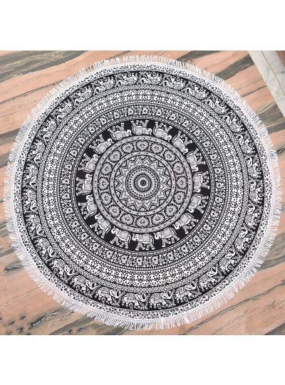 Black Boho Elephant Mandala Roundie Hippie Beach Throw Blanket Beach Towels Yoga Mat Throw Picnic Tapestry 72
