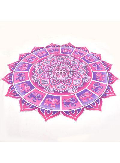 Purple Boho Elephant Roundie Picnic Beach Throw Blanket Beach Towel Yoga Mat Throw Tapestry 72