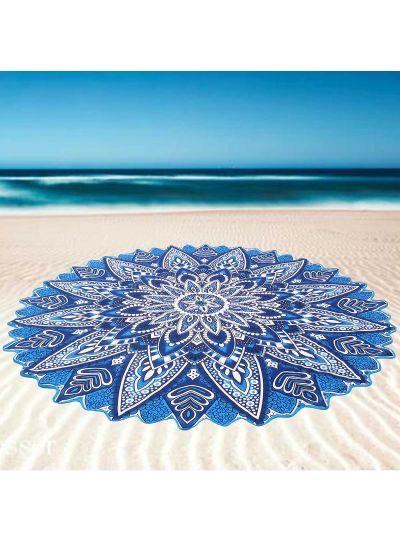 Multicolor Boho Flower Roundie Indian Printed Picnic Beach Throw Blanket Beach Towels Yoga Mat Throw Tapestry 72