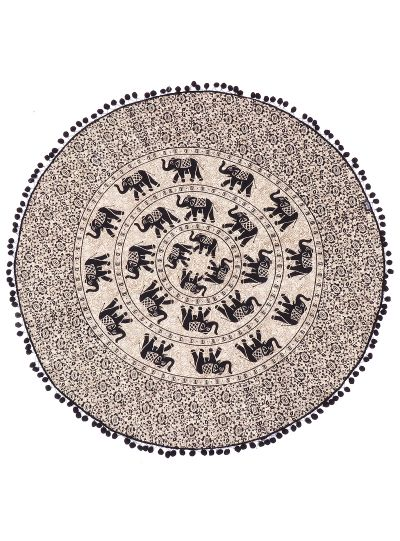 Brown Bohemian Elephant Roundie Hippie Picnic Beach Throw Blanket Beach Towels Yoga Mat Throw Tapestry 72
