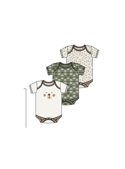 Newborn Baby Bodysuits Creepers Cotton Dress Pack of 3
