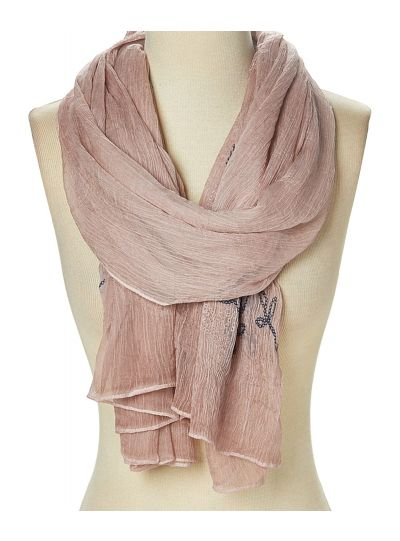 Women Polyester Embroidered Sheer Fashion Soft Scarves