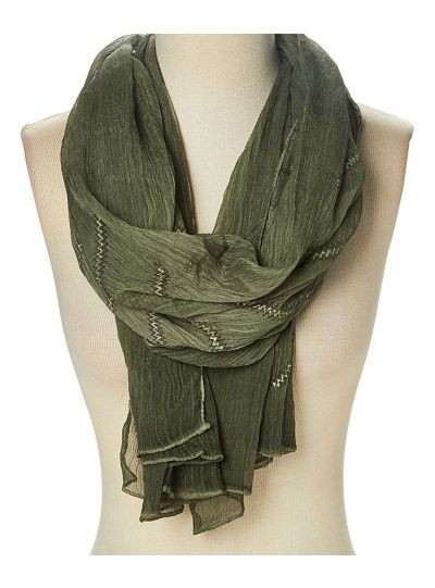 Summer Lightweight Polyester Zigzag Sheer Scarf for Women
