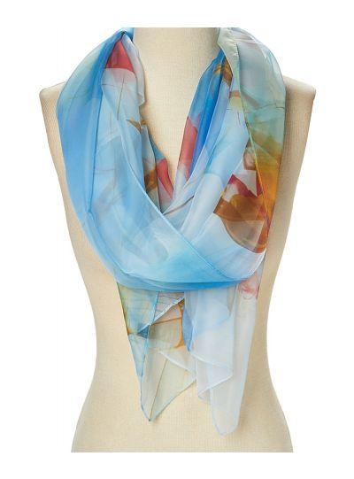 Summer Lightweight Floral Polyester Sheer Scarves for Women