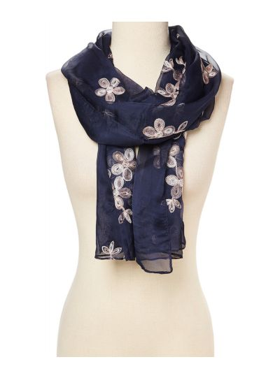 Lightweight Floral Embroidered Silk and Viscose Scarf for Women Summer and Winter Fashion