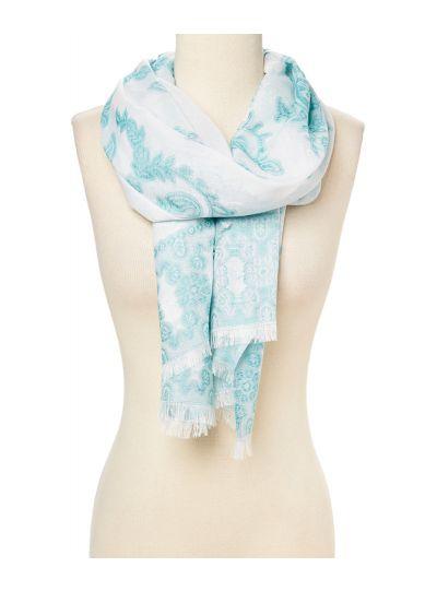 White Soft Luxurious Kaleidoscopic Pattern Fashion Scarf for Women Online
