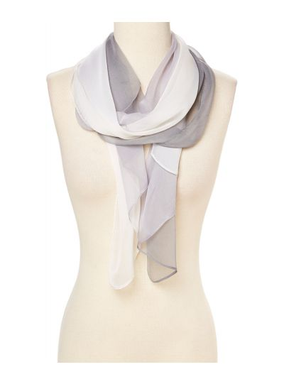 Light Gray Ombre Polyster and Silk Lightweight Summer Winter Scarves for Women