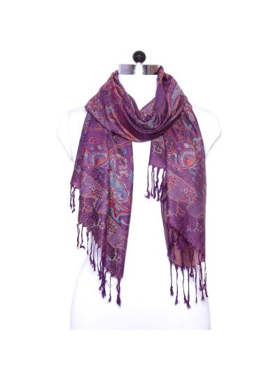 Designer Paisley Print Acrylic Silk and Viscose Winter Pashmina Scarf for Women Online