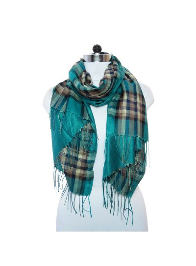 Lightweight Teal Color Pashmina Checked Acrylic and Viscose Scarf for Women Winter Fashion Online