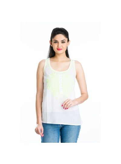 Chartreuse Jazzy Sleeveless Paisley Cotton Chikankari Embroidered Women's Top Online Large