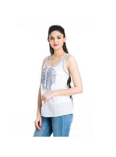 Blue Jazzy Sleeveless Paisley Cotton Chikankari Embroidered Women's Tops Online Extra Large