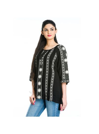 Black Geometric Stripe Mirror Work Embroidered Floral Misses Top for Women Online Small