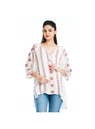 Off White Geometric Stripe Mirror Work Embroidered Floral Misses Top for Women Online Small