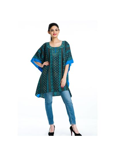 Geometric Pattern Tunic Kaftan Plus Size Polyester Tunic Dress for Women Beachwear Short Tunics Online