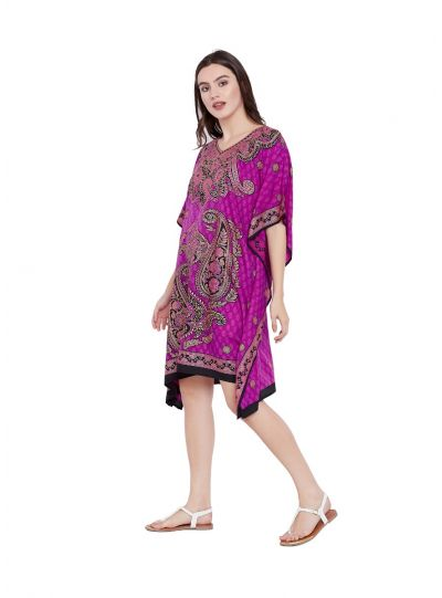 Pink Digital Printed Paisley Tunic for Women Plus Size Short Kaftan Dress