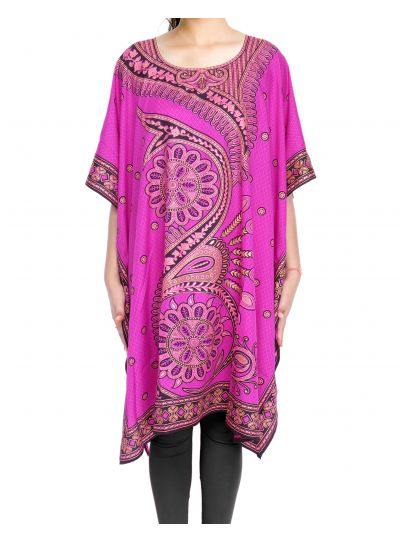 Pink Digital Printed Floral Tunic for Women Plus Size Short Kaftan Dress