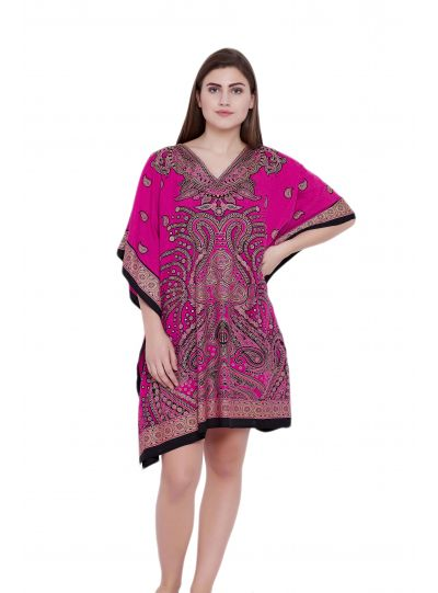 Pink Paisley Design Plus Size Kaftan Dress for Women Short Tunic Kimono Online