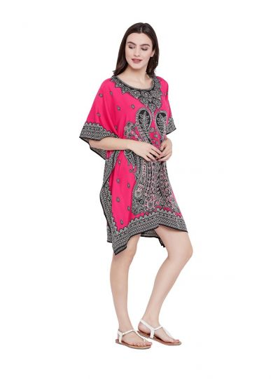 Fuchsia Digital Printed Paisley Tunic for Women Plus Size Short Kaftan Dress