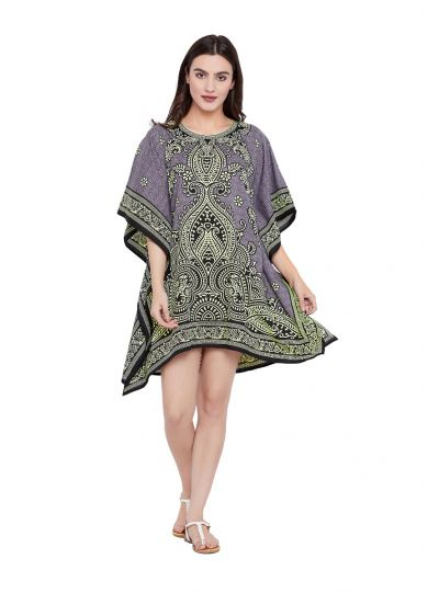 Lavender Digital Printed Paisley Tunic for Women Plus Size Short Kaftan Dress