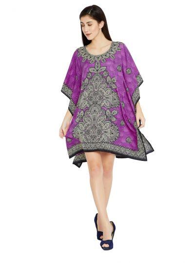 Purple Digital Printed Paisley Tunic for Women Plus Size Short Kaftan Dress