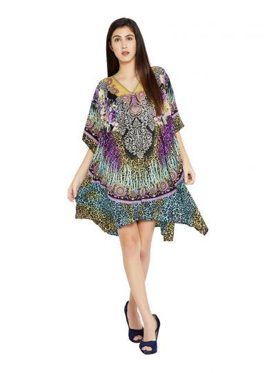 Multicolor Floral Paisley Designer Plus Size Kaftan Dress for Women Short Tunic Kimono Online